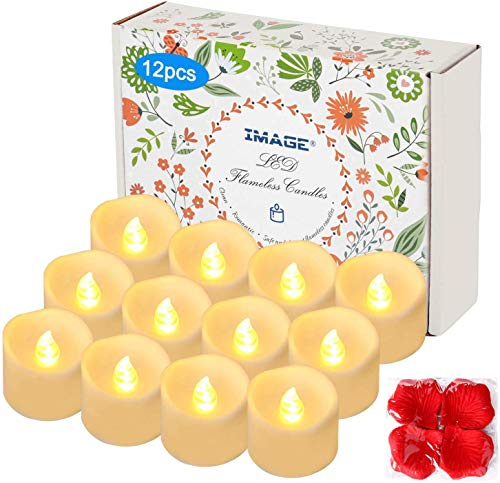 IMAGE 12PCS Battery Operated Tea Lights with Timer Flameless Flickering LED Candle Lights 6hrs on and 18hrs Off in Cycle Automatically with 100pcs Decorative Fake Rose Petals(Warm White)