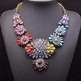 ANLW Bunte Strass Blume Halskette, Statement-Kette (Damen),Color