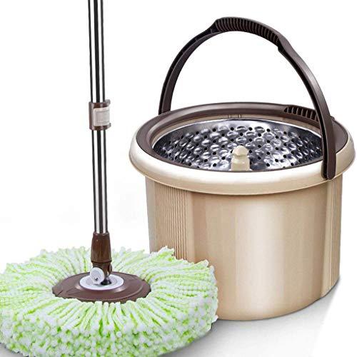 STRAW Giratoria de la fregona, la vuelta Fregona y compartimiento Conjunto mojado fregona de la vuelta y el cubo Sistema Estrujen Fácil y lavable paño de microfibra fregona de la cocina del hogar Limp