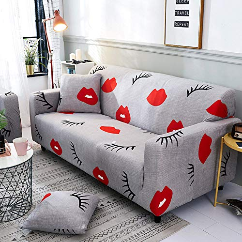 Universal Sofa Slipcover Stretch Printed Non Slip Red Lips Blossom Couch Covers,Elastic Universal Sofa Furniture Protector, Single Double Triple Combination Sofa Cushion,Pillowcase 45*45Cm