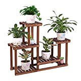 COOGOU Pine Wood Plant Stand Indoor Outdoor Multi Layer Flower Shelf Rack Higher and Lower Plant Holder in Garden Balcony Patio Living Room (4 Tiers)