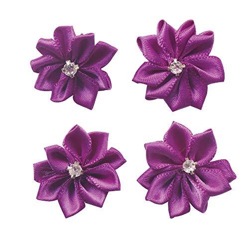 YAKA 60pcs Purple Satin Ribbon Flowers Bows Rose W/Rhinestone Appliques Craft Wedding Ornament 1.1inch