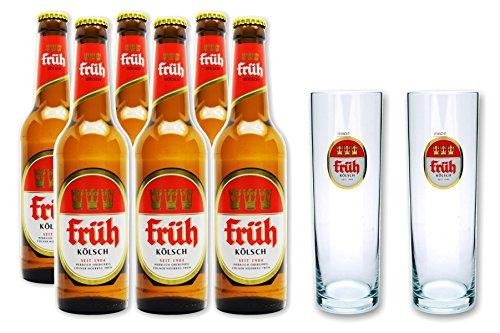 Früh Kölsch Vielfalt mit 6x0,33 L Bierflasche Kölsch und 2 Stück Gläser 0,2l