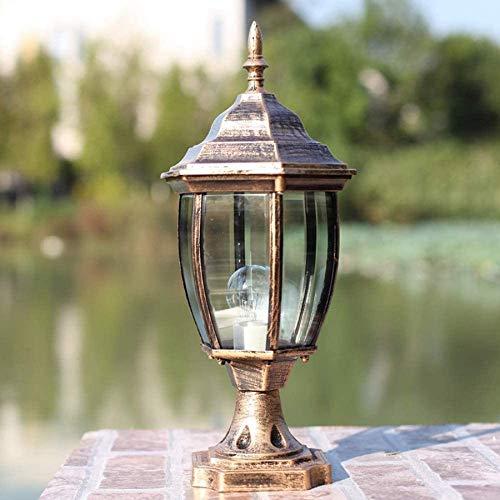Poste impermeable de vidrio europeo Luces de jardín Lámpara de columna de mesa de aluminio resistente a la corrosión Hogar Exterior LED Pier E27 Lámpara de iluminación Decoración Jardín Paisaj