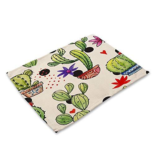 XiaoHeJD 4 Stücke Grünpflanzen Kaktus Individuelle Tischset für Esstisch Tuch Küchenzubehör Isolierung Matte Cup Coaster Mantel-6