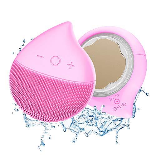 Cepillo de limpieza facial de silicona, cepillo de masaje eléctrico impermeable para...