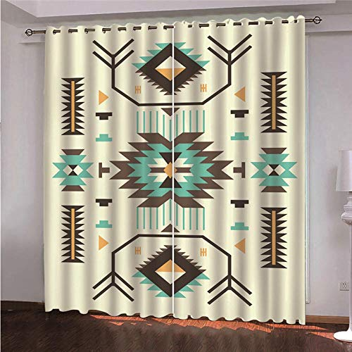 QHDHGR Window Curtains Eyelet Curtains Green & Pattern Blackout Thermal Insulated Curtains for Living Room, 2 Panels Noise Reducing Privacy Protected size: 2 x W46 x H90 Inch