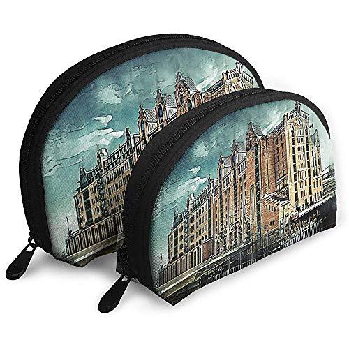 Stadtarchitektur Nostalgie Tragbare Taschen Kosmetiktasche Kulturbeutel, Multifunktions Tragbare Reisetaschen Kleine Make-up Clutch Pouch mit Reißverschluss