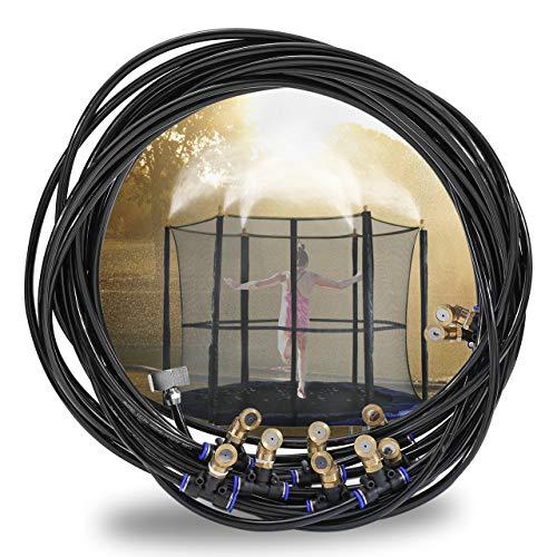 ACBungji Outdoor Misting System Zerstäuberfunktionssystem Bewässerungssystem Spray Kühlsystem Cooling Sprinkler System für Gärten Schwimmbad Ventilator Trampolin Misting System 10m Schwarz