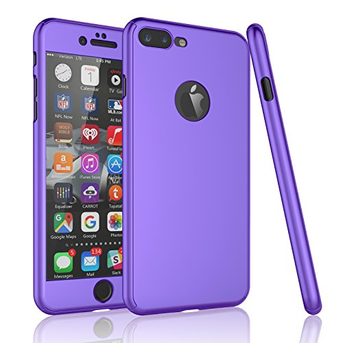 Tekcoo for iPhone 7 Plus Case, [T360 HY] Ultra Thin Full Body Coverage Protection Scratch Proof Hard Slim Hybrid Cover Shell with Tempered Glass Screen Protector for iPhone 7 Plus(5.5 inch) [Purple]