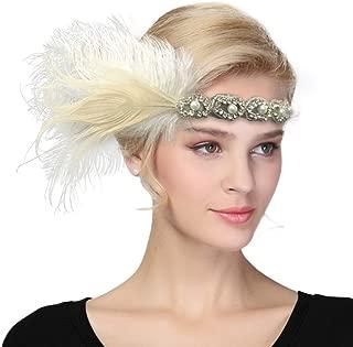 Women's Vintage 1920s Great Gatsby Flapper Headband Feather Wedding Party Headpiece