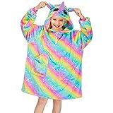 Play Tailor Wearable Blanket Hoodie for Kids Unicorn Hooded Sweatshirt Blankets Oversized Fleece Pullover with Pockets, Rainbow, 8 Years