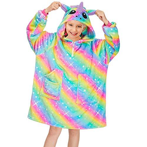 Basumee Oversized Unicorn Hoodie Blanket Sweatshirt for Kids Girls Giant Hoodie Sweatshirt with Pocket Wearable Pullover Blankets with no Lining Inside,Rainbow,12 Years