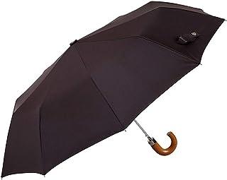 comprar comparacion EZPELETA Paraguas Plegable de Hombre. Paraguas con Funda. Automático y con puño Curvo de Madera. Tejido Liso - Marrón