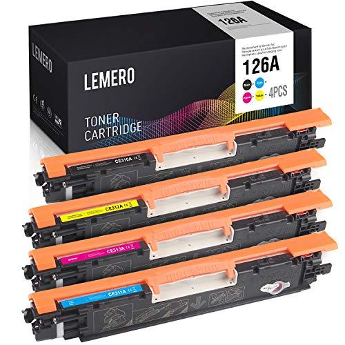 4 LEMERO Kompatibel Toner für HP 126A CE310A - CE313A für HP Laserjet Pro 100 Color MFP M175nw CP1025 CP1025nw Canon TopShot Laserjet Pro M275 i-SENSYS LBP7010C LBP7018C