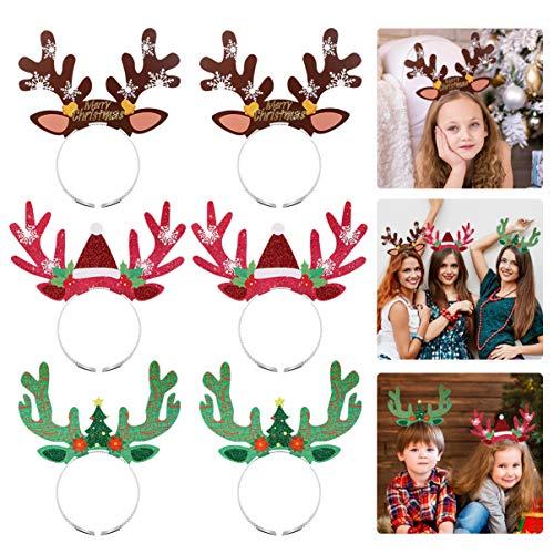 Amosfun 9PCS Christmas Reindeer Antlers Headband Cute Xmas Hair Hoops Christmas Reindeer Party Supplies