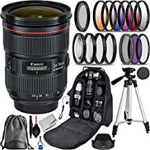 Canon EF 24-70mm f/2.8L II USM Advanced Bundle- Includes: 3pcs (UV, CPL, N-FLD) Filter Kit, 4pcs Close-up Fliter, 6pcs Graduated Color Filter Set and More
