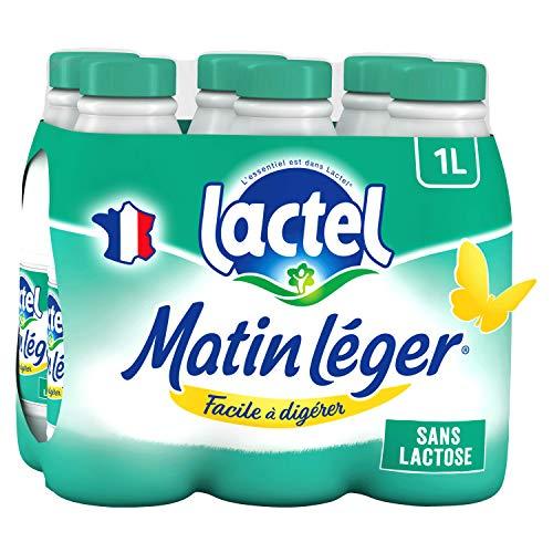 Lait sans lactose écrémé Matin Léger LACTEL bouteille 6x1L