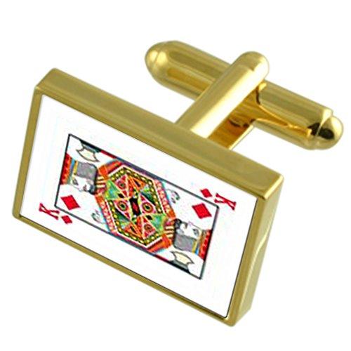 King Diamond Playing Card Gold-tone de manchette pochette noire
