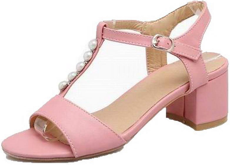 WeiPoot Women's Buckle Open-Toe Kitten-Heels Pu Solid Sandals, EGHLH007809