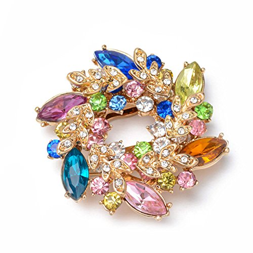 Wonvin Collection Flower Crystal Brooch Pins Buckle for Sweater Scarf Coat 18K Gold Plated Vintage Christmas Brooches for Women (Colorful)
