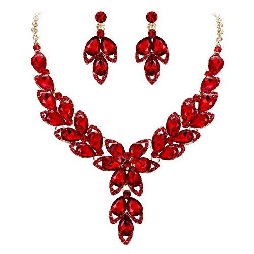 Clearine Juegos de Joyas de Mujer Lágrimas Cristal Forma Flor Encaje Hoja Vacía Collar y Pendientes para Novia Boda Fiesta Rojo