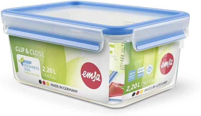Emsa Clip & Close Conservador Hermético de Plástico Rectangular, Transparente y Azul
