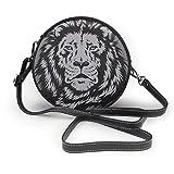 Bolsa de hombro de piel suave con diseño de cabeza de león, con cremallera y diseño de círculos, para mujer
