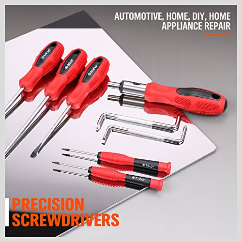 HORUSDY 101-Piece Magnetic Screwdriver Set with Plastic Racking, Tools for Men Tools Gift