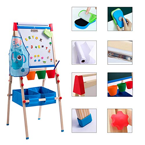 ERYOK Kid's Art Easel with Adjustable Double-sided Magnetic Board, Paper Roll, Storage and Accessories, Standing Art Easel for Kids (31-55.5 inches)