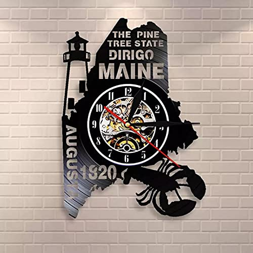 Pine Tree Maine Home State Reloj de pared Maine Pride Dillego Vinilo Record Reloj Live Home Main Home Decor Regalo Homesick