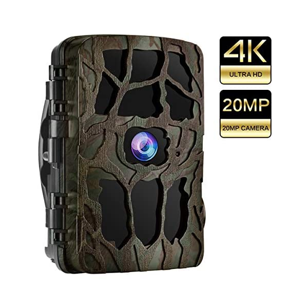 UncleHu Trail Camera, 20MP 4K Full HD Wildlife Camera, Night Vision Waterproof Game Camera with No Glow IR LEDs/0.3S Trigger Time Motion Activated/Loop Recording, Support 256G MicroSD Card