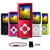Btopllc MP3 Player, MP4 Player, Digital Music Player 16GB Internal Memory Card, Portable and Compact MP3 / MP4 Music Player,Video Player,Ebook,Picture Music Player (rosso)