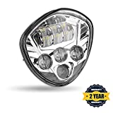 PROAUTO Chrome Bezel Cree Chip LED Motorcycle Headlight wit High 60w Low 40w Beam for Victory Cross-Country Motorcycle headlight Assembly for Victory Vegas
