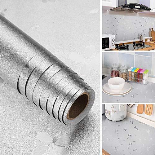 iKINLO Aluminium Klebefolie Selbstklebend Küchenfolie Küchenrückwand Folie Möbel Anti-Schimmel Öl Resistent Gegenaufkleber Hitzebestandige Spritzschutz DIY Küche Aufkleber 61 x 500 cm