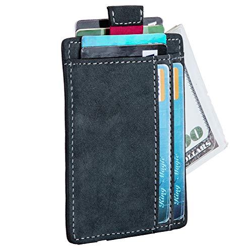 Donword Geldbörse aus RFID-Leder, minimalistisch, schlankes Design, mit Lasche zum Herausziehen, mit Bargeldgurt, dunkelblau (Blau) - 4905901