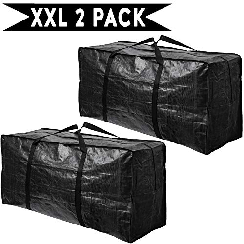 BAG-THAT! 2 XXL Moving Bags, Extra Extra Large Heavy Duty Stronger Handles Wrap Around Storage Bags Moving Totes Storage Totes Zippered Reusable Moving Supplies Moving Boxes Clothes Comforters College
