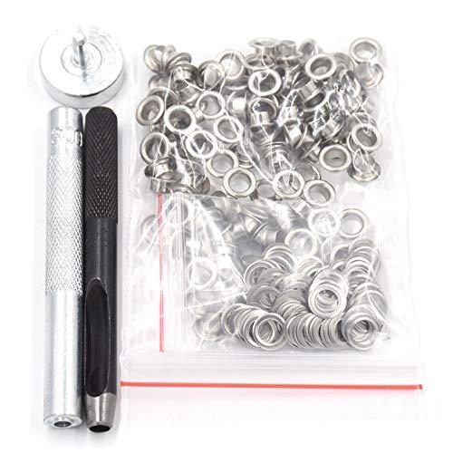 ZBW Kits de Ojal 100 Sets 3.5/4 / 5mm / 6mm / 8mm / 10mm / 12/14 / 17mm Eyelets de Metal Kit de Herramientas, Stick Hammer, Punch, Oremomet Ojal Filleting Installer Fasting (Color : 5mm)