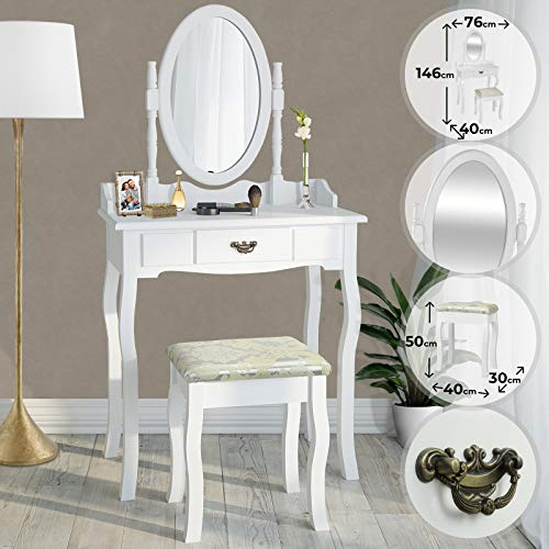 MIADOMODO Schminktisch - mit schwenkbarem Spiegel, gepolstertem Hocker und 1 Schublade, Weiß - Frisertisch, Kosmetiktisch, Frisierkommode, Schminkspiegel, Make-up Tisch