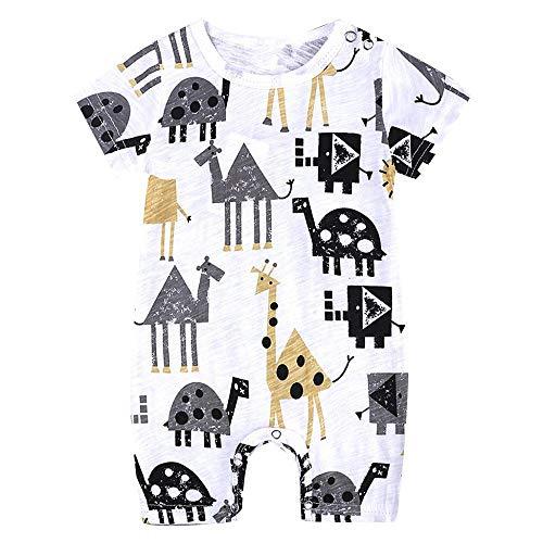 YEBIRAL Neugeborene Baby Jungen Karikatur Drucken Kurzarm Strampler Bodys Einteiler Kurz Overall Baumwolle Schlafanzug Spielanzug 0-18 Monate