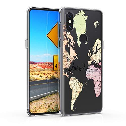 kwmobile Hülle kompatibel mit Xiaomi Mi Mix 3 - Hülle Silikon transparent Travel Schriftzug Schwarz Mehrfarbig Transparent