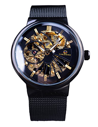 Forsining Unisex Fashion Black Mesh Band Ultra Thin Skeleton Mechanical Wrist Watch