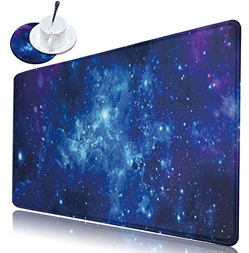 Extended Large Gaming Mouse Pad with Stitched Edges(31.5 x 11.8 inch), Dikoer Big Mousepad XL Keyboard Pad Laptop Protector Cute Desk Mat for Women Men Office Computer + Coasters, Blue Galaxy