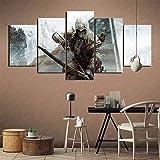 Pintura decorativa de 5 paneles Assassin's Creed 3 Art deco Decoración de arte para el hogar Panel de pintura Pintura sin marco 200x100cm