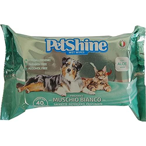 PORRINI Toallitas Higiene para Perro y Gato, Musgo Blanco Aloe