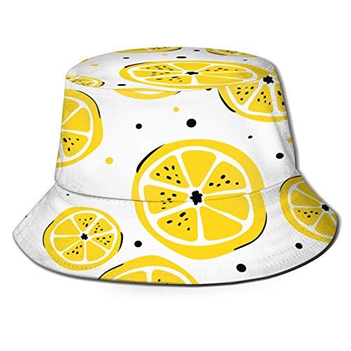 PUIO Sombrero de Pesca,Patrón de luz Brillante Transparente Tela de Limones,Senderismo para Hombres y Mujeres al Aire Libre Sombrero de Cubo Sombrero para el Sol