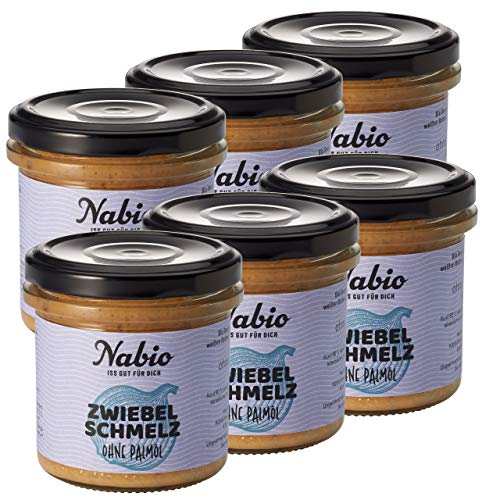 Nabio Aufstrich Zwiebelschmelz mit Apfel, Bio Brot-Aufstrich, vegan, Ohne Palmöl, 6er Pack (6 x 135 g)