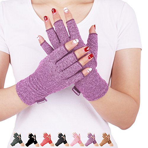 Arthritis Compression Gloves Relieve Pain from Rheumatoid, RSI,Carpal Tunnel, Hand Gloves Fingerless for Computer Typing and Dailywork, Support for Hands and Joints (L, Purple)