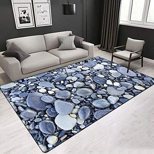 FLOORMATJING Einfacher moderner Design-Wohnzimmerteppich mit Couchtisch, nordisches Wohnzimmer mit Nachttisch mit rechteckiger Tagesdecke, rutschfeste Matte,02,100 * 150cm