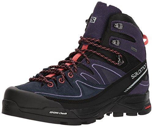 SALOMON X Alp Mid LTR GTX W, Chaussures de Randonnée Hautes Femme, Noir (Black/Nightshade Grey/Coral Punch 000), 37 1/3 EU